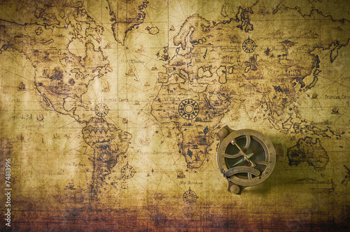 old map with compass #74813916
