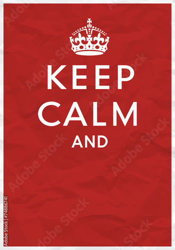 Canvas Print Keep Calm Poster with Crown