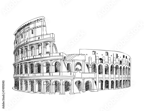 Photo Coliseum in Rome, Italy. Colosseum hand drawn isolated vector