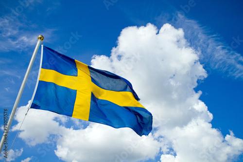 Wallpaper Mural Swedish flag on blue summersky