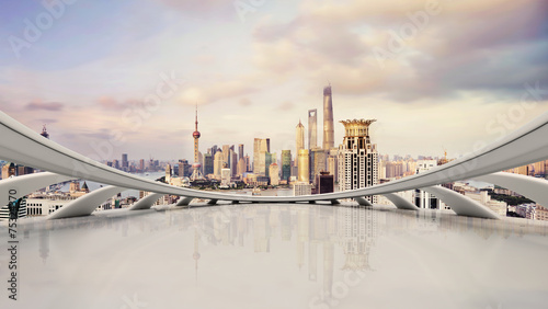 Foto modern city skyline,traffic and cityscape in Shangha,China