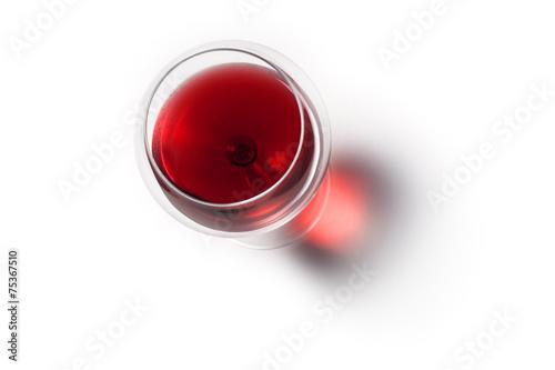 Foto Calice di Vino Rosso con Ombra. Vista dall'alto