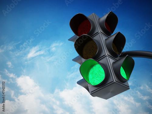 Fotografie, Obraz Green traffic light