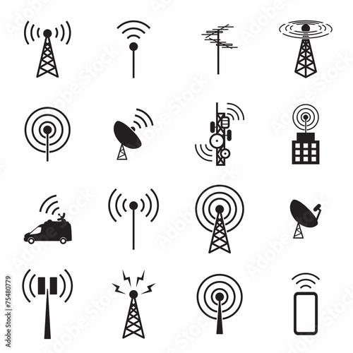 Antenna icon set Fototapet
