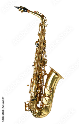 Canvas Print Alto sax golden saxophone isolated on white background.