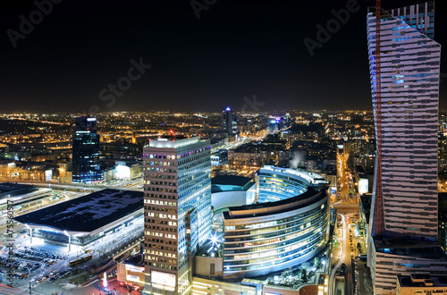 View of the center of Warsaw at night #75560517