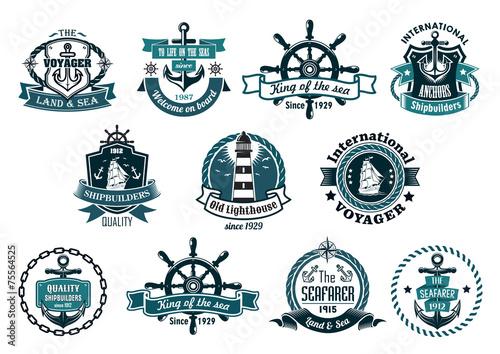 Dark blue nautical labels