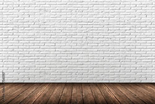 Biały mur z cegły Fototapeta