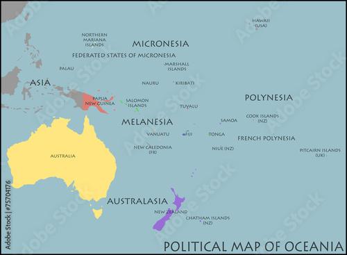 Canvas Print Political Map of Oceania