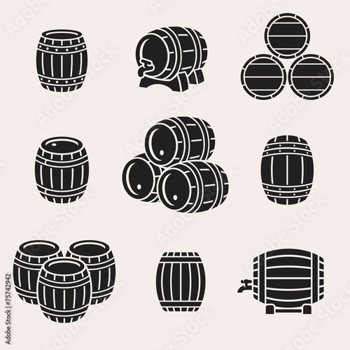 Photo Barrels set. Vector