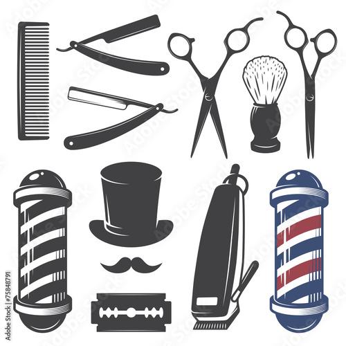 Carta da parati Set of vintage barber shop elements.
