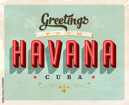 Canvas Print Vintage Touristic Greeting Card - Vector EPS10