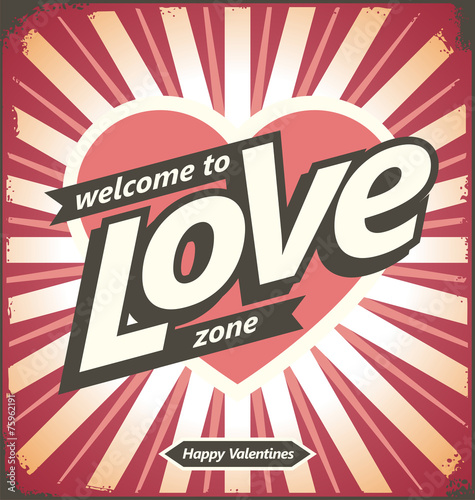 Valentines day vintage tin sign design concept
