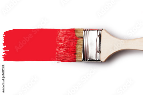 Fotografie, Obraz Paintbrush with red paint
