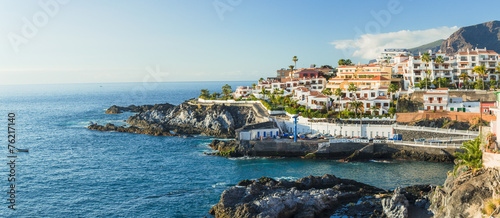 Panorama La Caleta fishing village on the coast of Tenerife isla