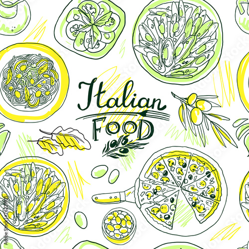 beautiful hand-draw simpless pattern italian food