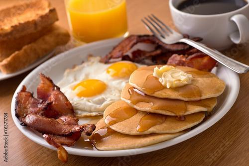 Slika na platnu Breakfast with bacon, eggs, pancakes, and toast