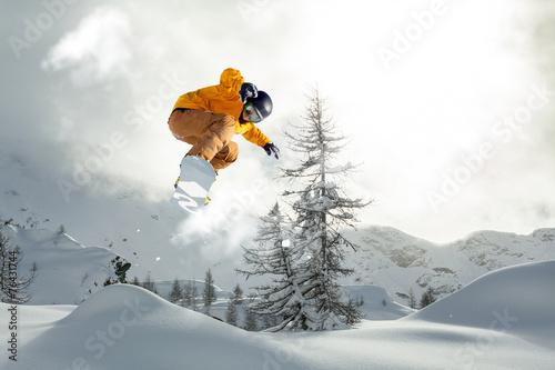 Canvas Print snowboarder freerider