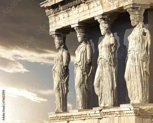 Caryatids, erechtheum temple on Acropolis of Athens, Greece