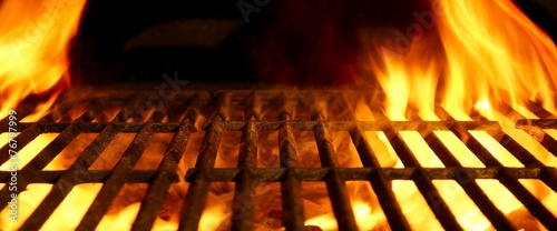 Leinwand Poster BBQ or Barbecue or Barbeque or Bar-B-Q Charcoal Fire Grill
