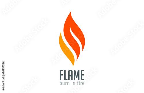 Valokuvatapetti Fire flame Logo design luxury vector template