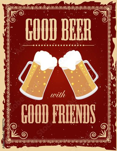 Canvas Print Vintage beer poster