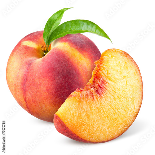 Wallpaper Mural Peach with slice and leaves isolated on white