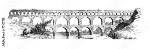 19th century engraving of the Pont du Gard, France Fototapet