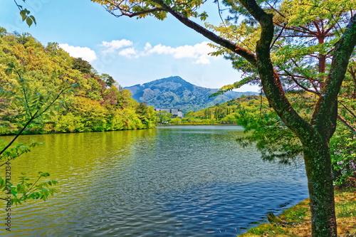 Summer lake view in Kyoto region, Japan