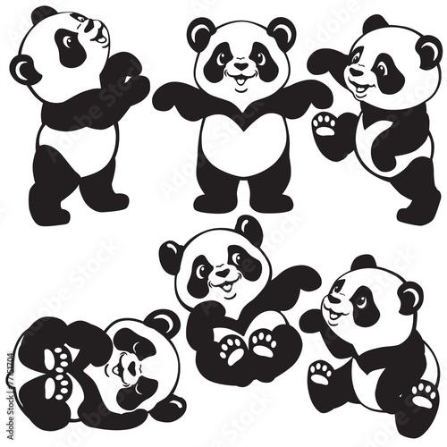 black and white set with cartoon panda #77151704