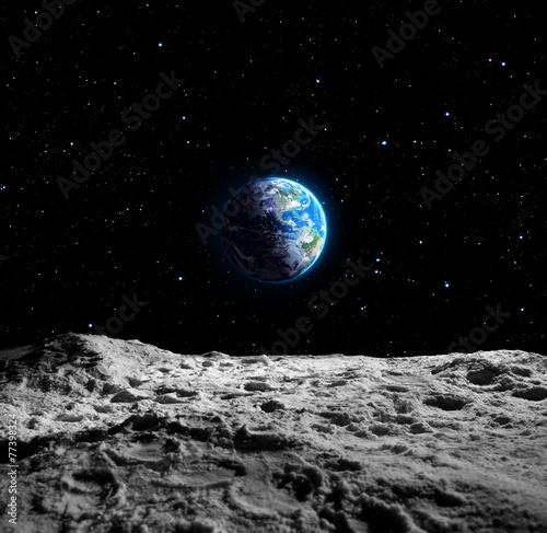 Leinwand Poster Ansichten der Erde von der Mondoberfläche
