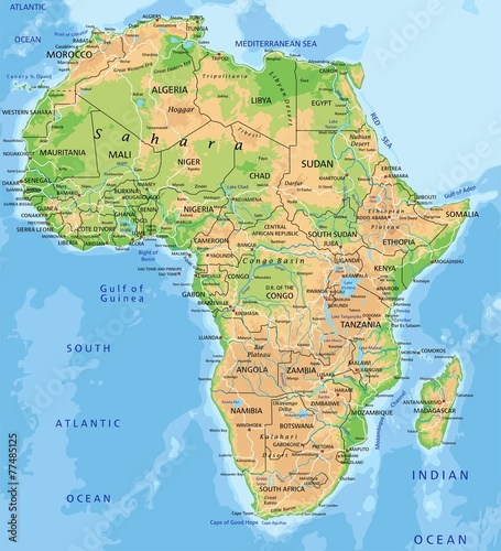 Canvas Print High detailed Africa physical map with labeling.