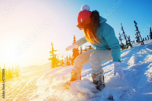 Canvas Print female snowboarder