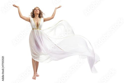 Canvastavla Classical Greek Goddess in Tunic Raising Arms