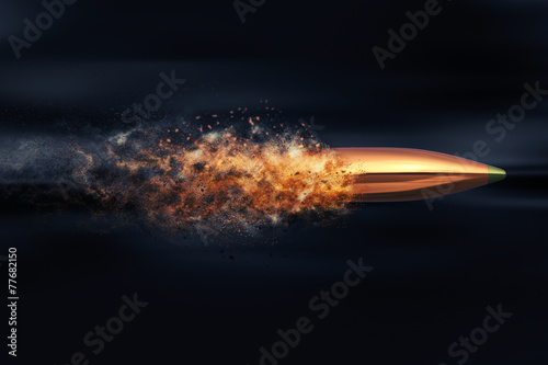 Fotografie, Obraz Flying bullet with dust trail