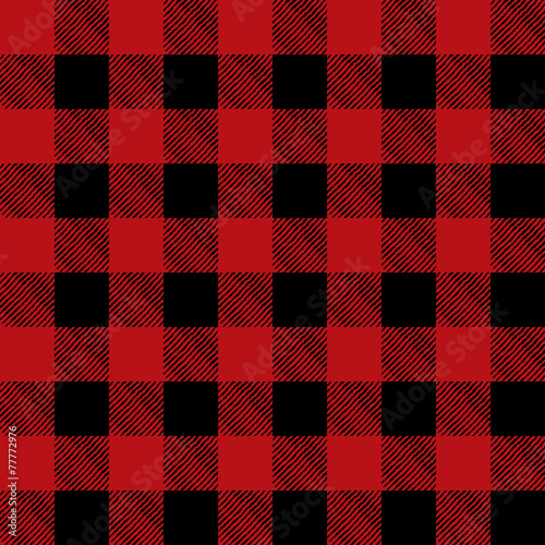 Tiled Red and Black Flannel Pattern Illustration
