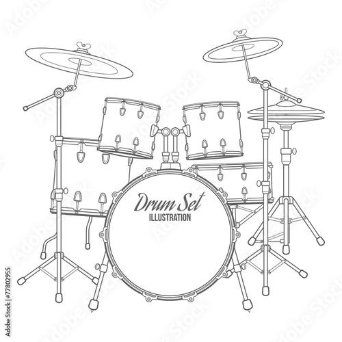 Fotografia vector outline drum set on white background