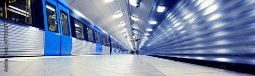 Obraz na płótnie Train arriving to subway station platform