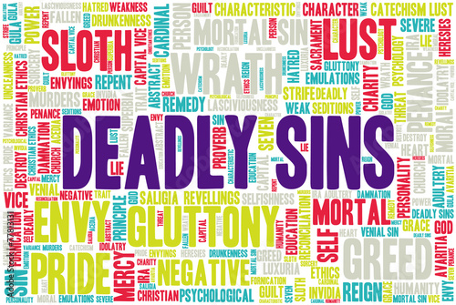 Fotografie, Obraz Tag cloud related to seven deadly sins