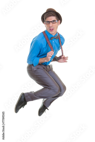 Canvas Print goofy business man jumping