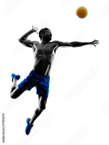 Fotografie, Obraz Muž, který hraje plážový volejbal silueta