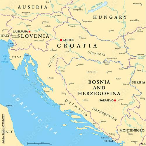 Canvas Print West Balkan Political Map