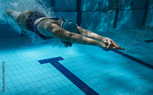 Photo Swimmers at the swimming pool.Underwater photo