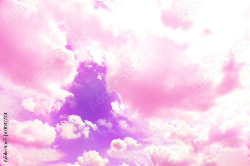 Violet sky background with pink clouds