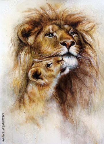 Obraz na płótnie beautiful airbrush painting of a loving lion  and her baby cub