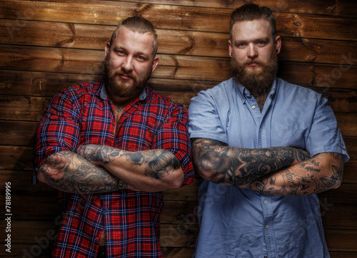 Two brutal huge males with beards Fototapet