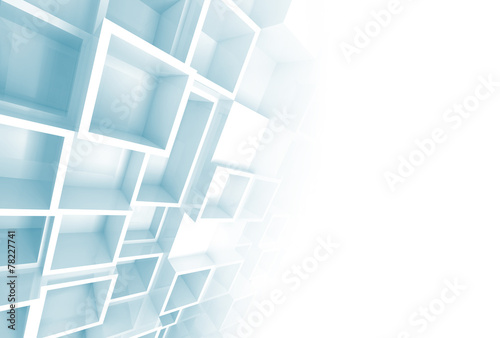 Relief cube pattern on the wall and blank copy space #78227741