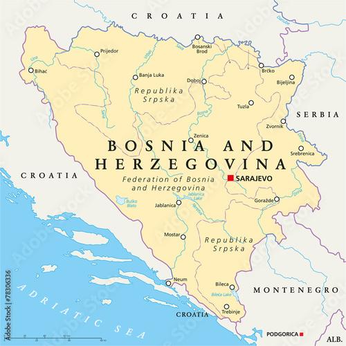 Wallpaper Mural Bosnia And Herzegovina Political Map