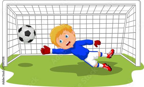 Cuadros en Lienzo Soccer football goalie keeper saving a goal