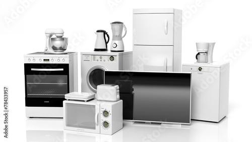 Billede på lærred Group of home appliances isolated on white background.